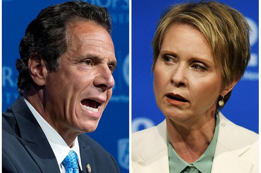 Mr Andrew Cuomo (left) has traded hard on his progressive record, and outspent his competitor. Ms Cynthia Nixon wants to become the first woman and first openly gay governor of the state.