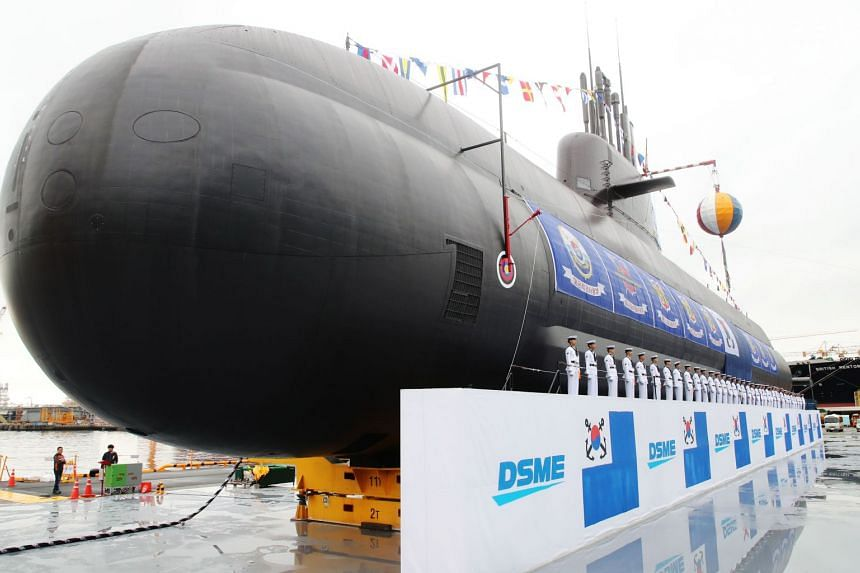 South Korea's 3,000-tonne diesel-electric submarine, Dosan Ahn Chang-ho, at a shipyard on the southern island of Geoje, on Sept 14, 2018.