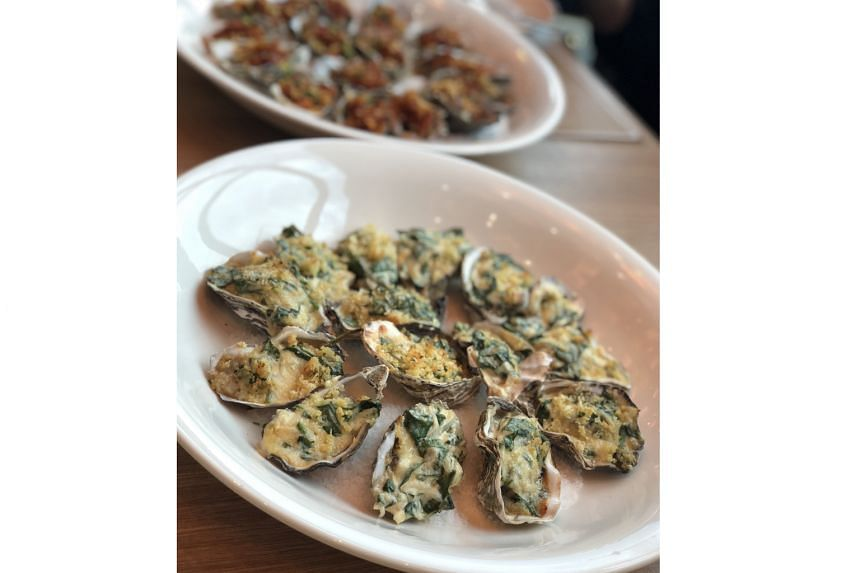 Oysters cooked in three ways - Rockefeller, Kilpatrick and Mornay