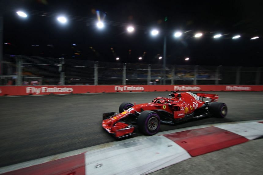 Vettel in action during the second practice session.