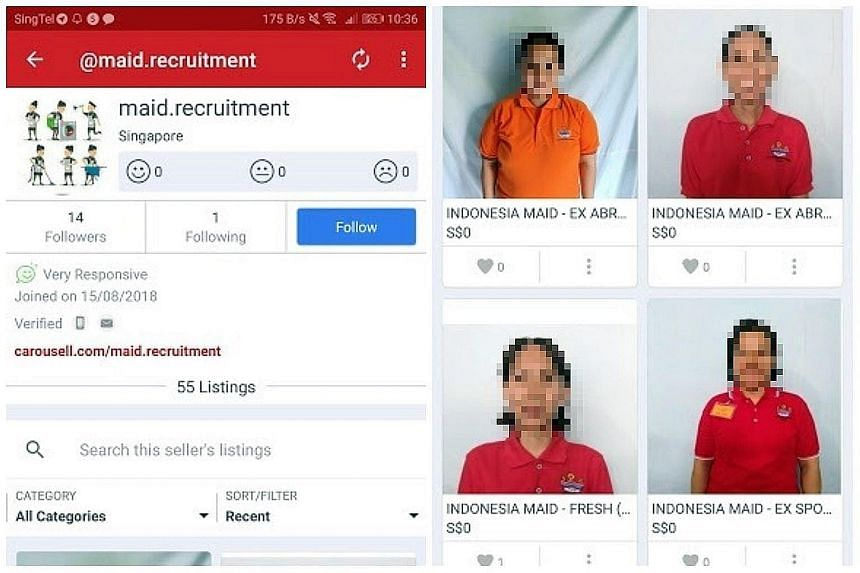 """In Carousell listings by user @maid.recruitment, the faces of several maids, allegedly from Indonesia, were posted, with some profiles indicating that the maids have been """"sold""""."""