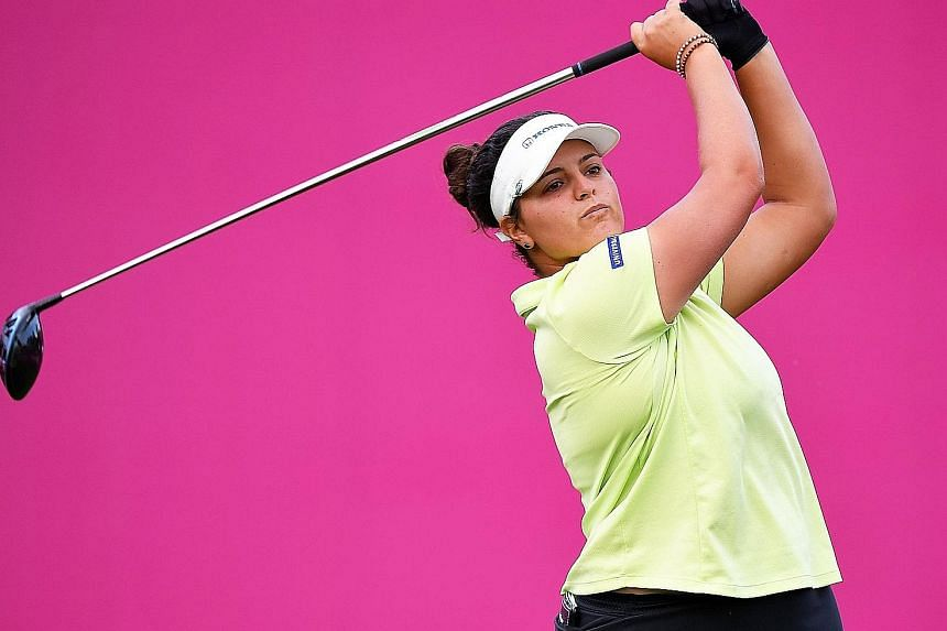 Rookie Maria Torres in 4-way share of lead at Evian