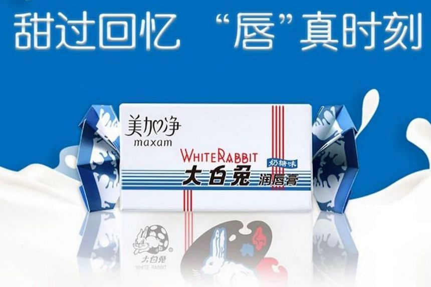 """A poster for the lip balm, a tie-up between White Rabbit and cosmetics firm Maxam, comes with the following slogan in Chinese: """"Sweeter than memories, moments of purity."""""""