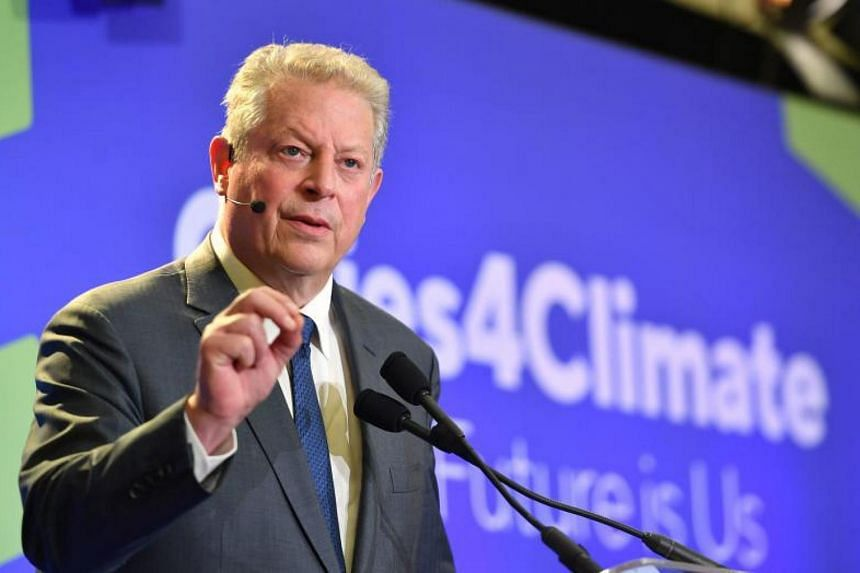 Former US vice-president Al Gore speaking at the C40 Cities For Climate The Future Is Us kickoff event at San Francisco's City Hall, on Sept 12, 2018.