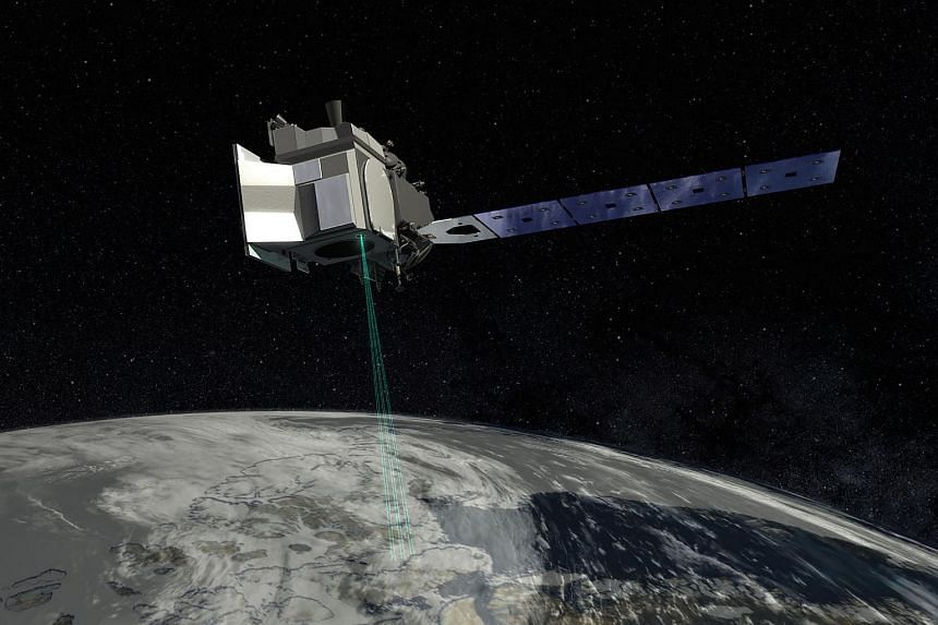 An artist concept from NASA's Goddard Space Flight Center depicts ICESat-2, and how the spacecraft will use lasers and a very precise detection instrument to measure the elevation of Earth's surface.
