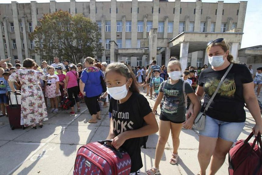 Children in the Crimean town of Armyansk were evacuated earlier this month amid concerns about health risks from pollution by a titanium dioxide plant.