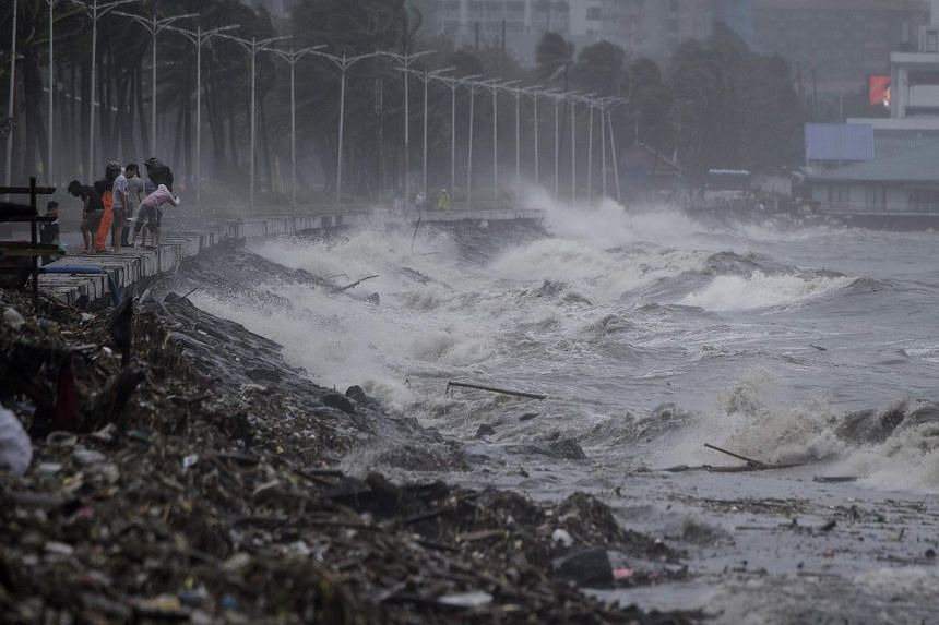Strong waves caused by Super Typhoon Mangkhut are seen in Manila, on Sept 15, 2018.
