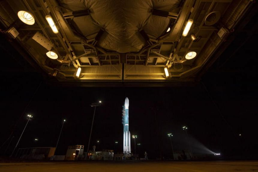 A handout photo made available by NASA on 15 September 2018 showing the United Launch Alliance (ULA) Delta II rocket with the NASA Ice, Cloud and land Elevation Satellite-2 (ICESat-2) onboard shortly after the mobile service tower at SLC-2 was rolled