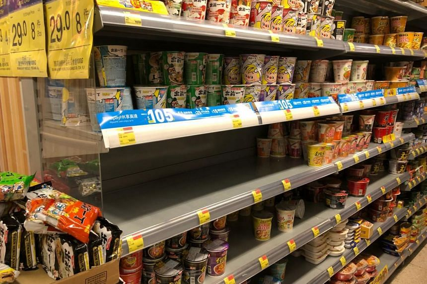 Instant noodles snapped up by Hong Kongers making last minute preparations for the next few days as incoming Super Typhoon Mangkhut is expected to arrive between the night of Sept 16 and the morning of Sept 17.
