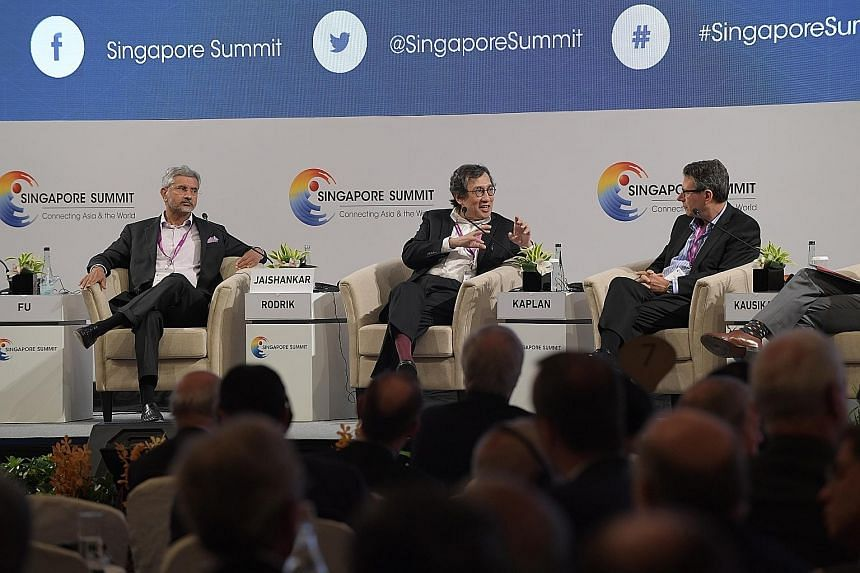 At the Singapore Summit Plenary Session yesterday were (from left) Dr. S Jaishankar, president of global corporate affairs at Tata Sons; Mr Bilahari Kausikan, chairman of the Middle East Institute, National University of Singapore; and Mr Robert D. K