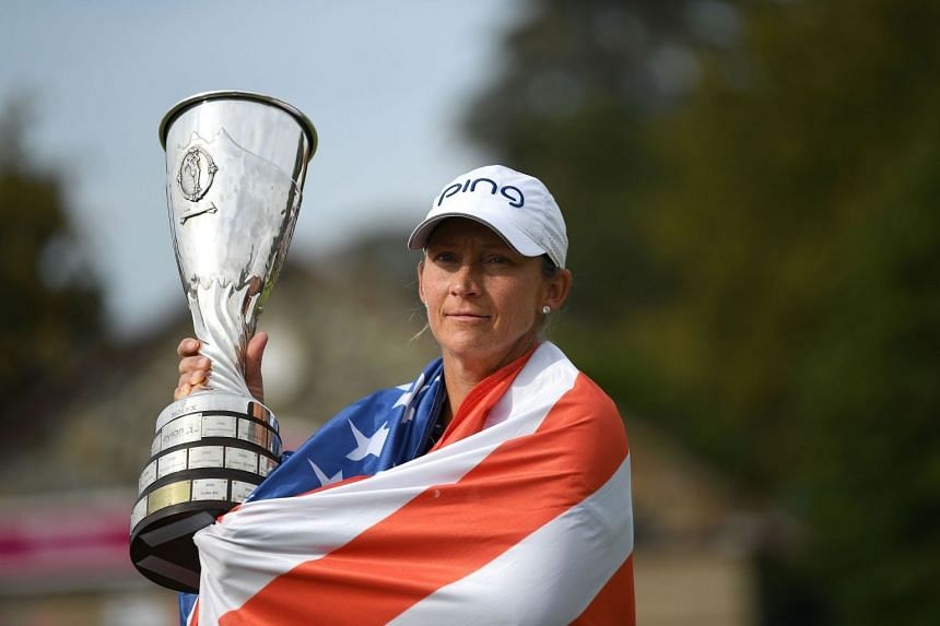 US golfer Angela Stanford posing with her trophy after winning the Evian Championship on Sept 16, 2018.