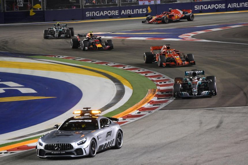 Mercedes' Lewis Hamilton behind the safety car during the 2018 Singapore Airlines Singapore Grand Prix on Sept 16, 2018.