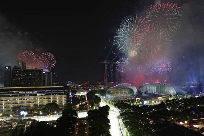Fireworks are seen from Swissotel The Stamford at the conclusion of the 2018 Singapore Airlines Singapore Grand Prix on Sept 16, 2018.