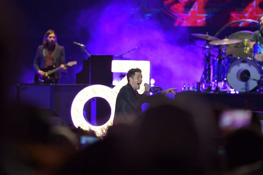 American alternative rock band The Killers performing at Padang Stage, Zone 4, Marina Bay Street Circuit on Sept 15, 2018.