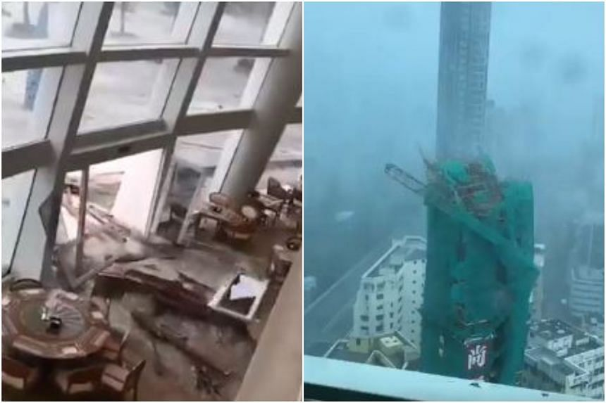 In videos posted to Twitter, heavy rains and winds can be seen whipping pavements and buildings.