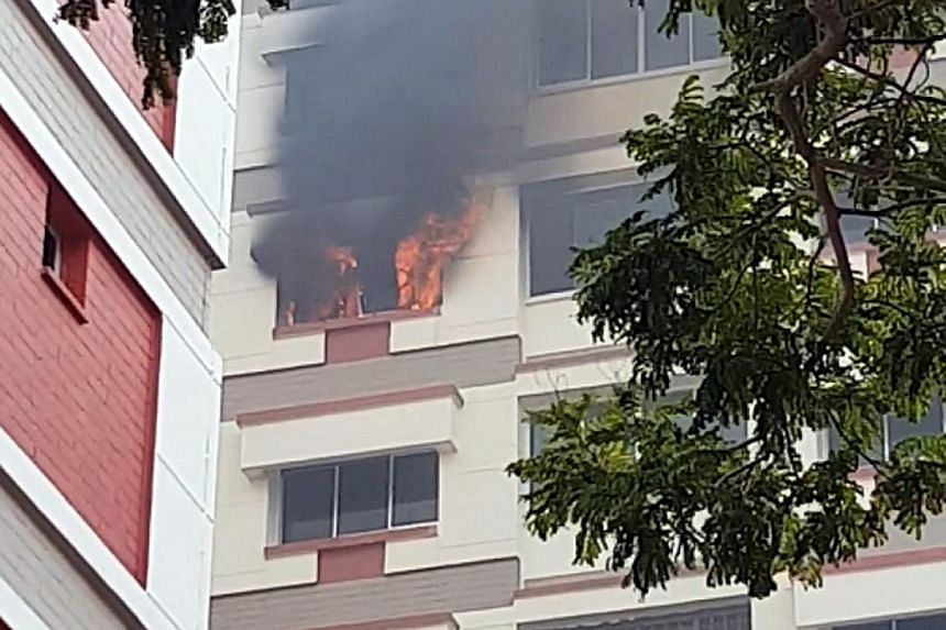 The fire involved the contents of a bedroom of a flat at Block 307, Tampines Street 32. It was extinguished using a water jet.
