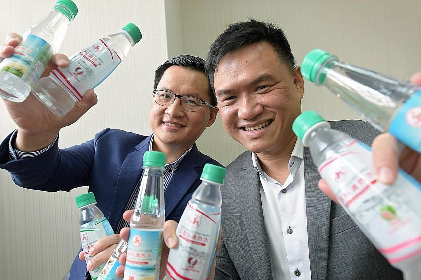 Brothers Fu Shou Jeen (top left) and Fu Siang Jeen are third-generation directors of Wen Ken Group, known for its Three Legs Cooling Water drink (above).