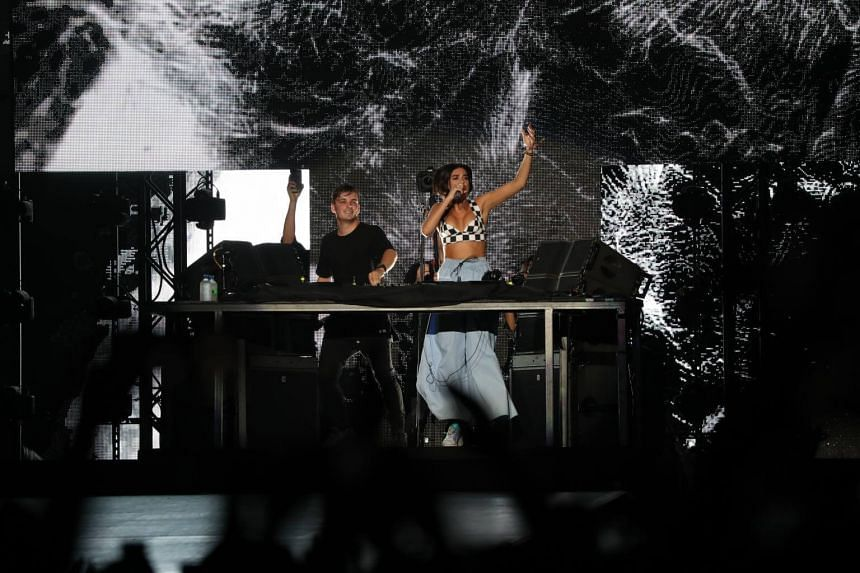 Dutch DJ Martin Garrix performs during the F1 Singapore Grand Prix Concert at the Padang on Sept 16, 2018.