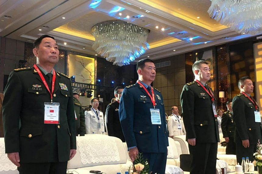 General Song Puxuan (left), head of China's Central Military Commission's Logistics Support Department, and other Chinese delegates attend the opening ceremony of the Asia Pacific Military Health Exchange 2018, on Sept 17, 2018.