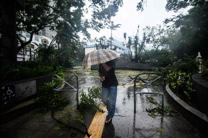 A pedestrian walks past fallen branches during Super Typhoon Mangkhut in Hong Kong, on Sept 16, 2018.