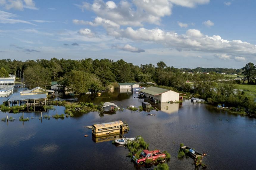 An aerial view of a flooded property in Lumberton, North Carolina, on Sept 17, 2018.