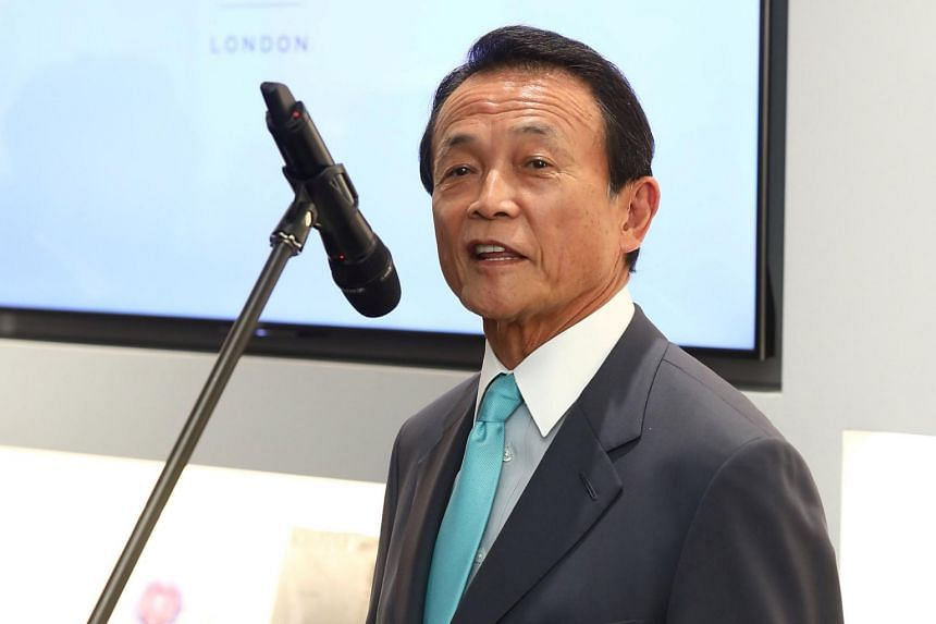 Japanese Finance Minister Taro Aso speaking at the official opening of Japan House in London, on Sept 13, 2018.