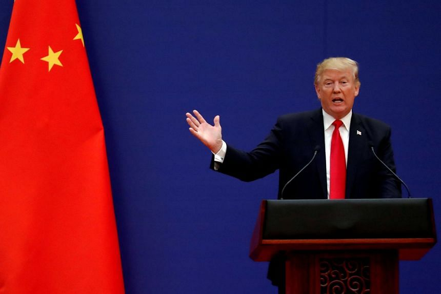 US President Donald Trump delivering a speech at the Great Hall of the People in Beijing, on Nov 9, 2017.