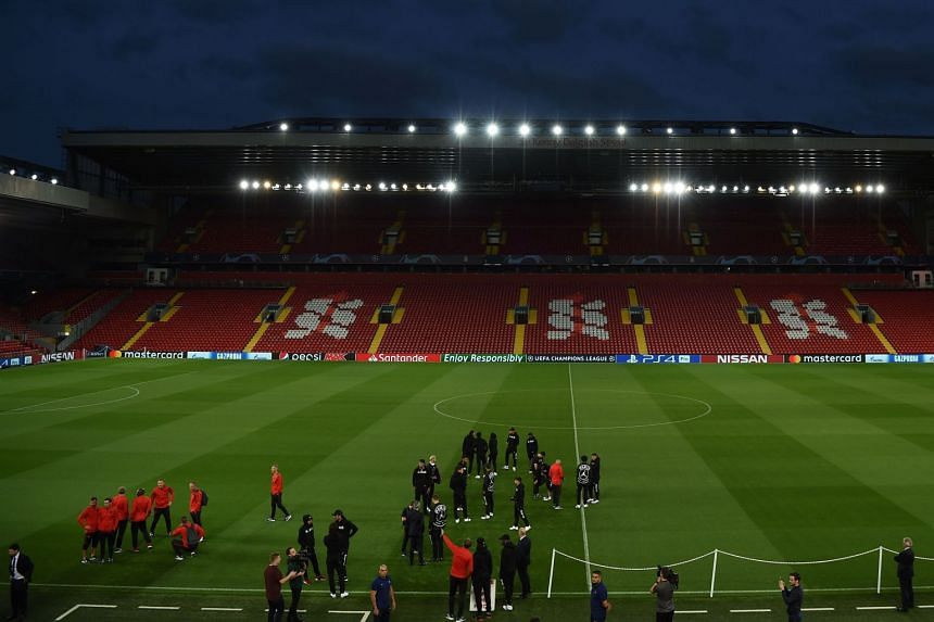 Paris Saint-Germain players attend a team walkabout at Liverpool's Anfield Stadium on Sept 17, 2018, on the eve of the two teams' Champions League Group C clash.