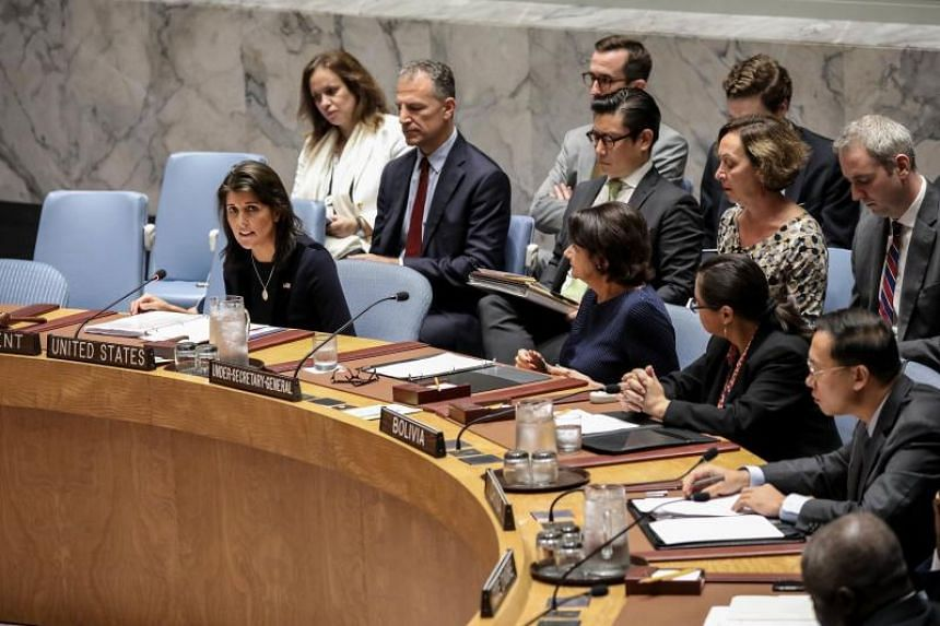 US Ambassador to the UN Nikki Haley speaks during a meeting of the United Nations Security Council at UN headquarters in New York City, on Sept 17, 2018.