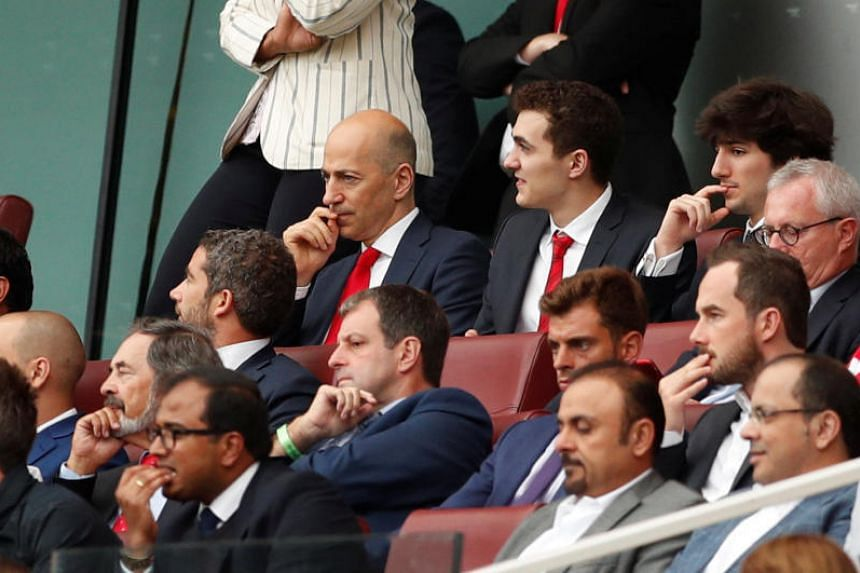 Arsenal chief executive Ivan Gazidis (top row, left) in the stands during the English Premier League match between Arsenal and Manchester City at the Emirates Stadium in London on Aug 12, 2018.