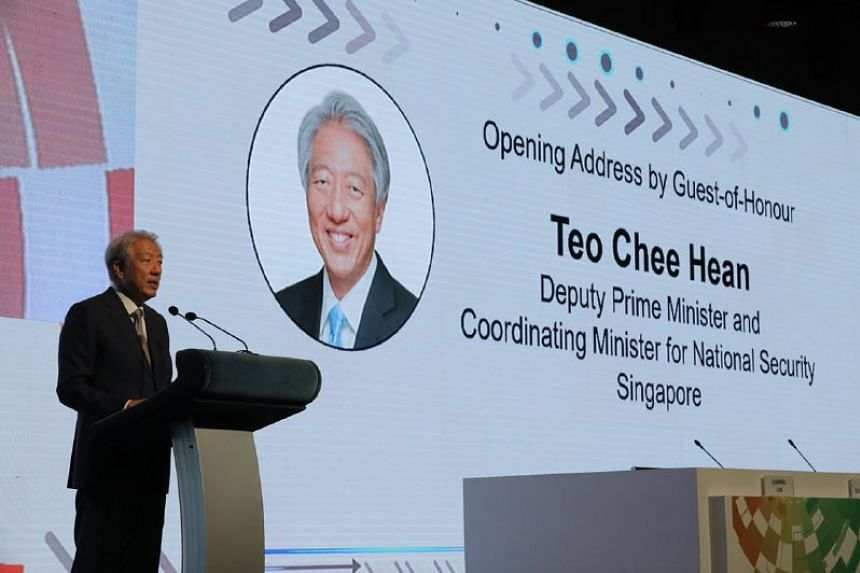 Deputy Prime Minister Teo Chee Hean at the opening of the third annual Singapore International Cyber Week, held at the Suntec Singapore Convention and Exhibition Centre on Sept 18, 2018.