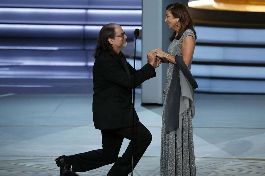 As Glenn Weiss accepted the award, he asked his girlfriend Jan Svendsen, who was sitting in the audience, to marry him.