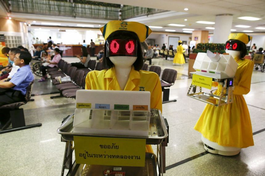 Mongkutwattana General Hospital in Bangkok uses robots to courier documents within the premises. A study by the World Economic Forum foresees robots swiftly replacing humans in the accounting, client management, industrial, postal and secretarial sec