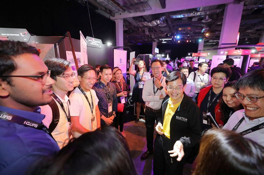 Finance Minister Heng Swee Keat at the opening of the Singapore Week of Innovation and Technology yesterday. He announced a new programme to send Singapore students abroad for internships at companies or start-ups that undertake entrepreneurship and