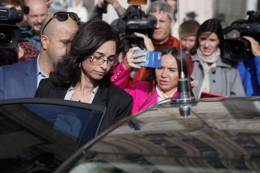 Israeli deputy ambassador Keren Cohen Gat (second left) leaving the Russian Foreign Ministry office in Moscow.