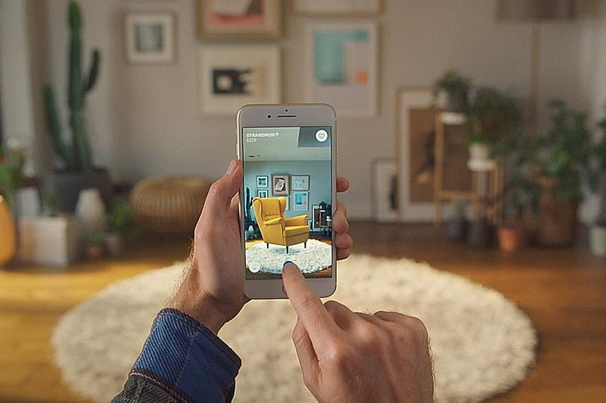 The Ikea Place app uses augmented reality to let users place virtual furniture in their rooms to see if it fits before buying.