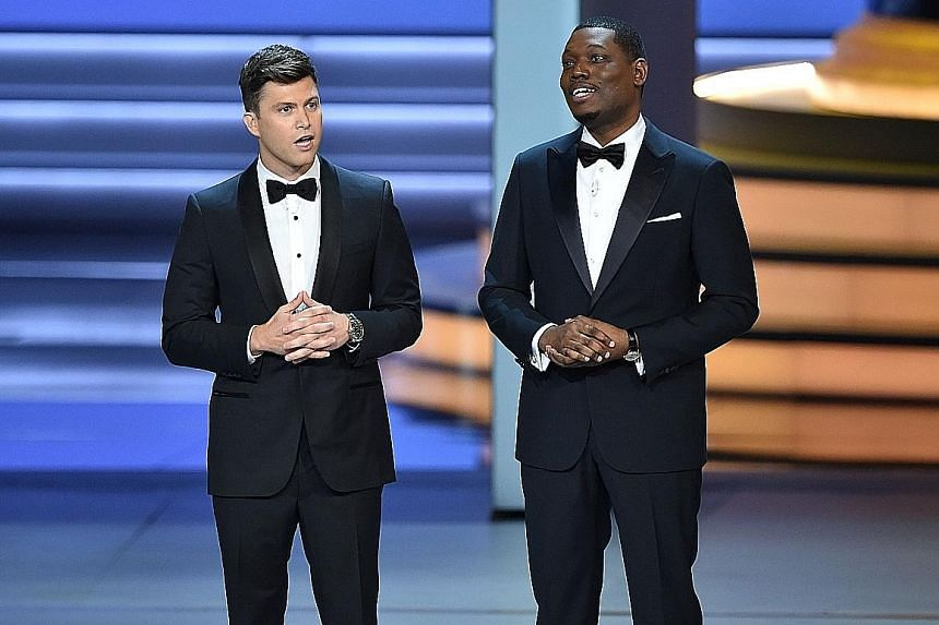 Emmy co-hosts Colin Jost (left) and Michael Che (right), comedians from sketch show Saturday Night Live, were total duds.