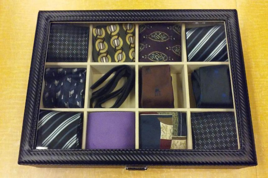Neckties and bowties available for borrowing at the Riverside branch of the New York Public Library.