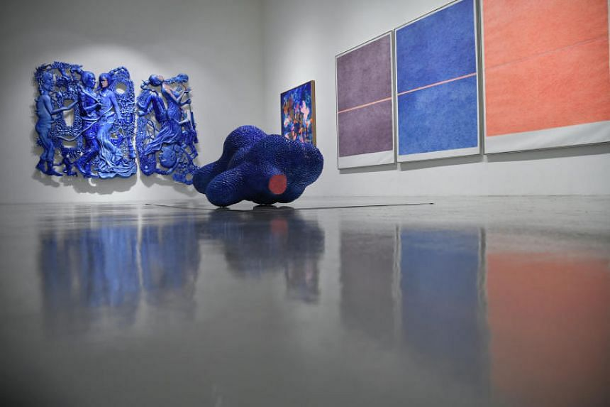 Indonesian artist Entang Wiharso's Art History: Indonesia Diaspora (background right), Recalling Home (background left) and Nothing Left (foreground), at the Mizuma Gallery, on Sept 19, 2018.