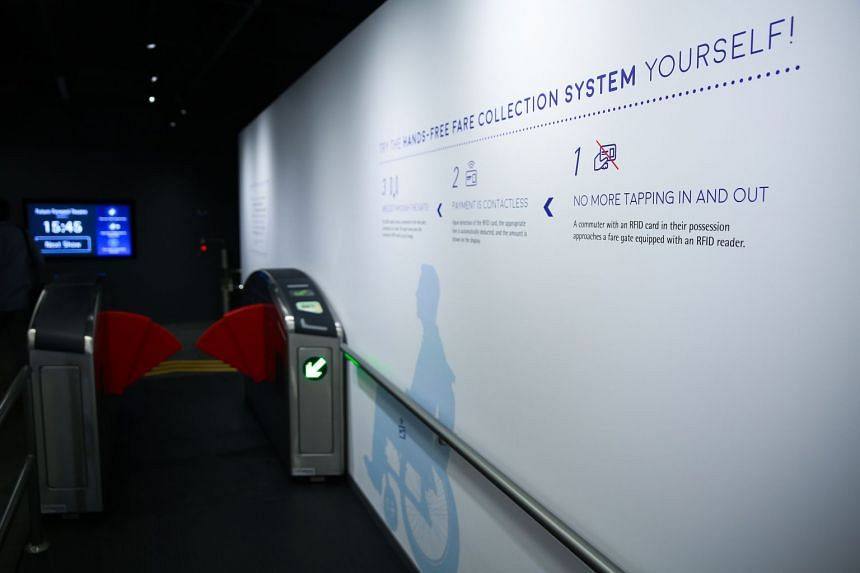 A contactless EZ-link gantry feature wall in Zone 4: Future Mobility.