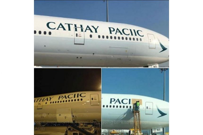 Photos of the misspelt name of Cathay Pacific after a fresh paint job have emerged on social media, on Sept 19, 2018.