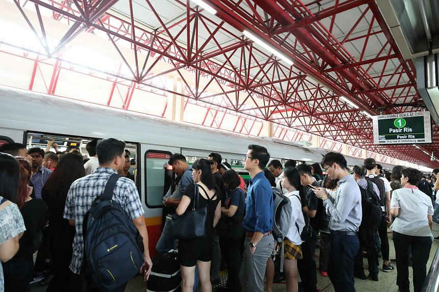 Train commuters faced delays of up to 40 minutes during the rush hour on the morning of Sept 19, 2018.