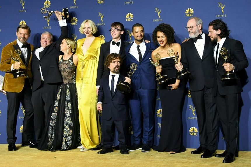 The cast of Game Of Thrones, which bagged Outstanding Drama Series at the Emmy Awards in Los Angeles on Monday. It is the third time the hit fantasy drama, based on George R.R. Martin's A Song Of Ice And Fire books, has won the biggest and most cov