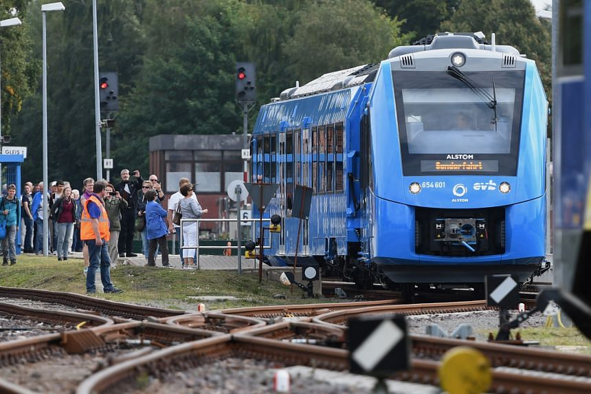 The world's first hydrogen-powered train began running a 100km route on Monday between the towns and cities of Cuxhaven, Bremerhaven, Bremervoerde and Buxtehude in northern Germany - a stretch normally plied by diesel trains.