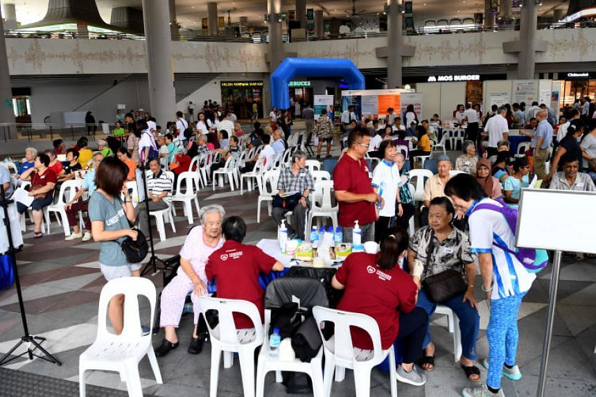 Senior residents attend a functional health screening session, on Sept 19, 2018 at Kampung Admiralty in Woodlands.