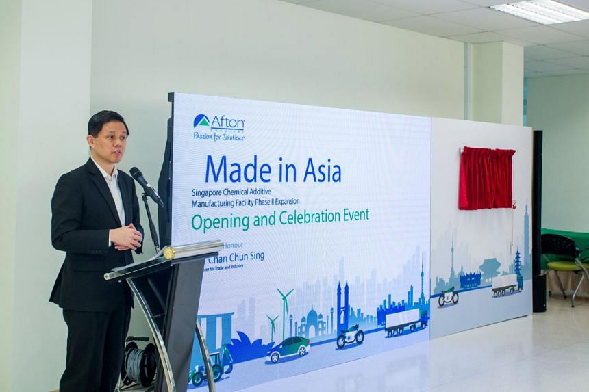 Minister for Trade and Industry Chan Chun Sing at the opening of Afton Chemical Corporation's expansion of its manufacturing plant on Jurong Island.