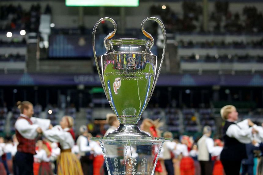 The Champions League trophy seen before a football match in Estonia, on Aug 15, 2018.