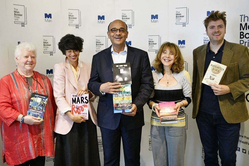 Judges (from left) Val McDermid, Jacqueline Rose, Kwame Anthony Appiah, Leanne Shapton and Leo Robson hold nominated books.
