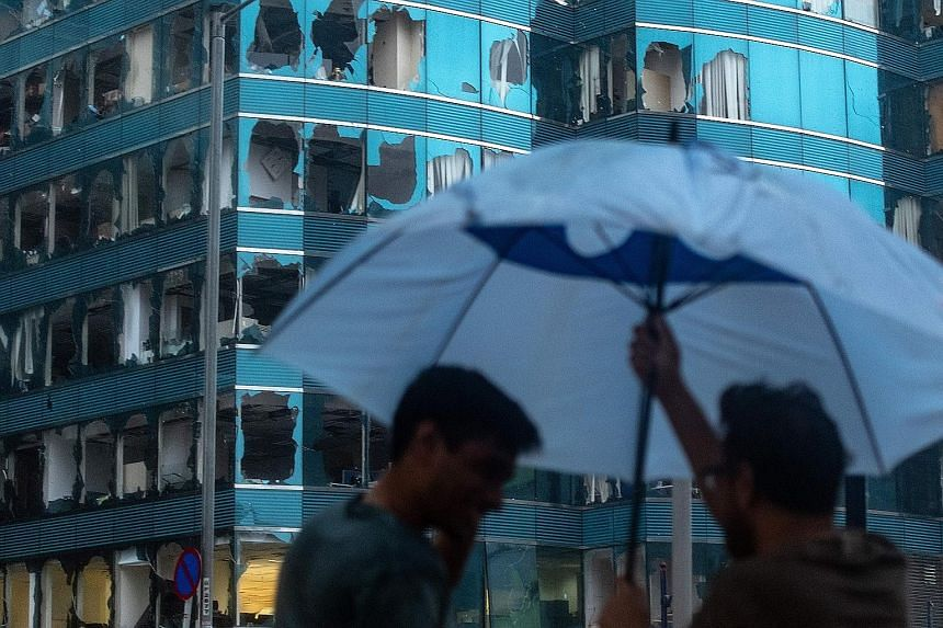 Windows of a Hong Kong commercial building were smashed over the weekend during Typhoon Mangkhut, one of the most powerful storms to hit the region in decades.