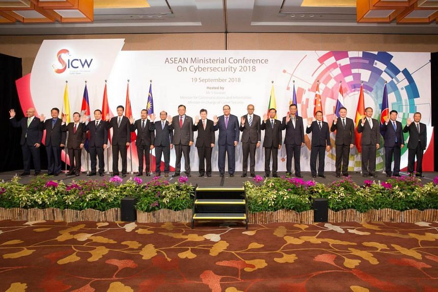 Minister for Communications and Information S. Iswaran (centre) at the Asean Ministerial Conference on Cybersecurity, on Sept 19.